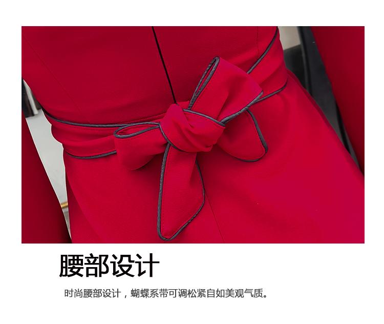 2019新款秋冬网纱拼接长袖高腰修身时尚气质连衣裙1