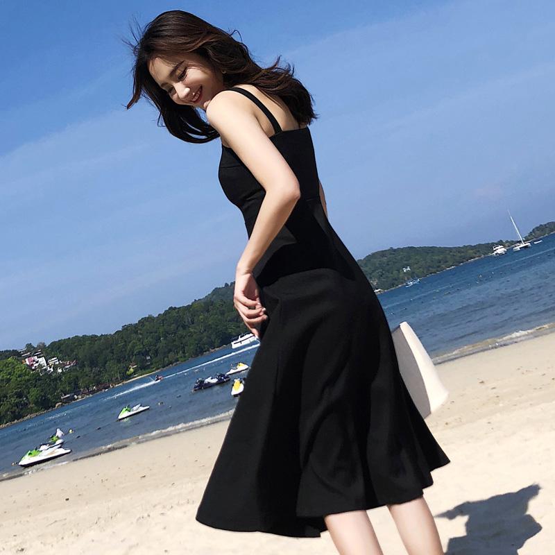 实拍原版质量海边度假吊带时髦气质A字大摆赫本中长款连衣裙1