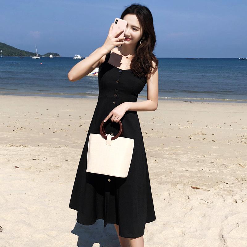 实拍原版质量海边度假吊带时髦气质A字大摆赫本中长款连衣裙2