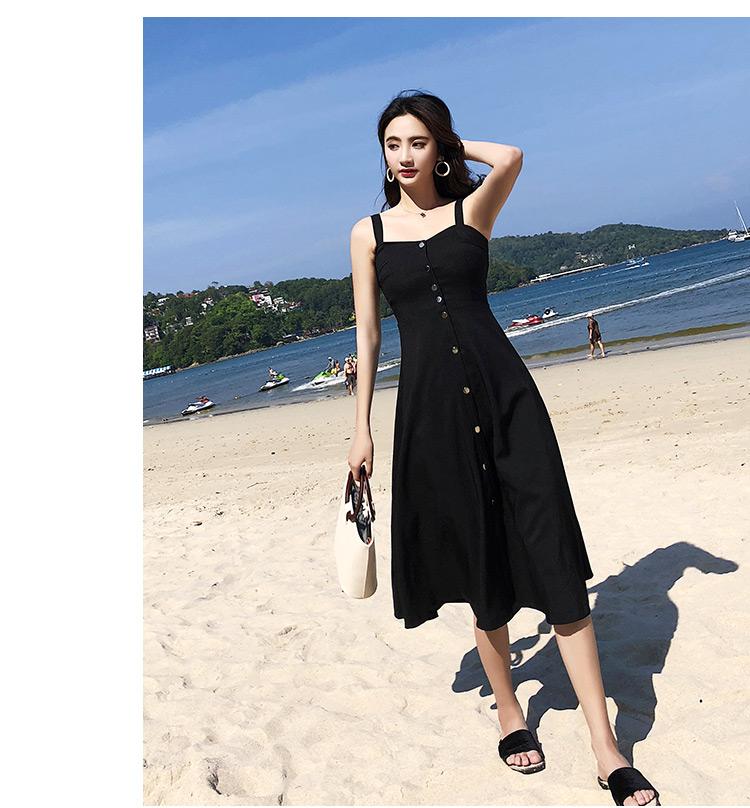 实拍原版质量海边度假吊带时髦气质A字大摆赫本中长款连衣裙3