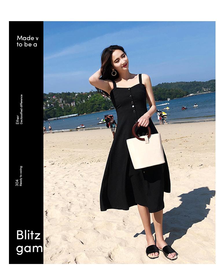 实拍原版质量海边度假吊带时髦气质A字大摆赫本中长款连衣裙4