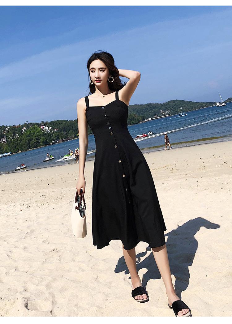 实拍原版质量海边度假吊带时髦气质A字大摆赫本中长款连衣裙5