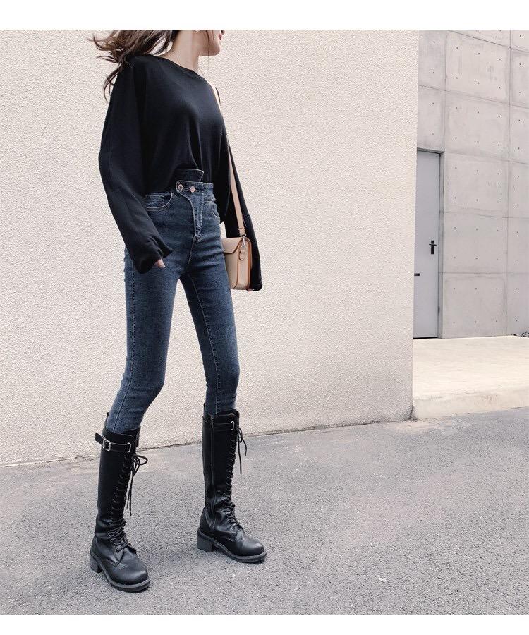 牛仔裤女高腰1