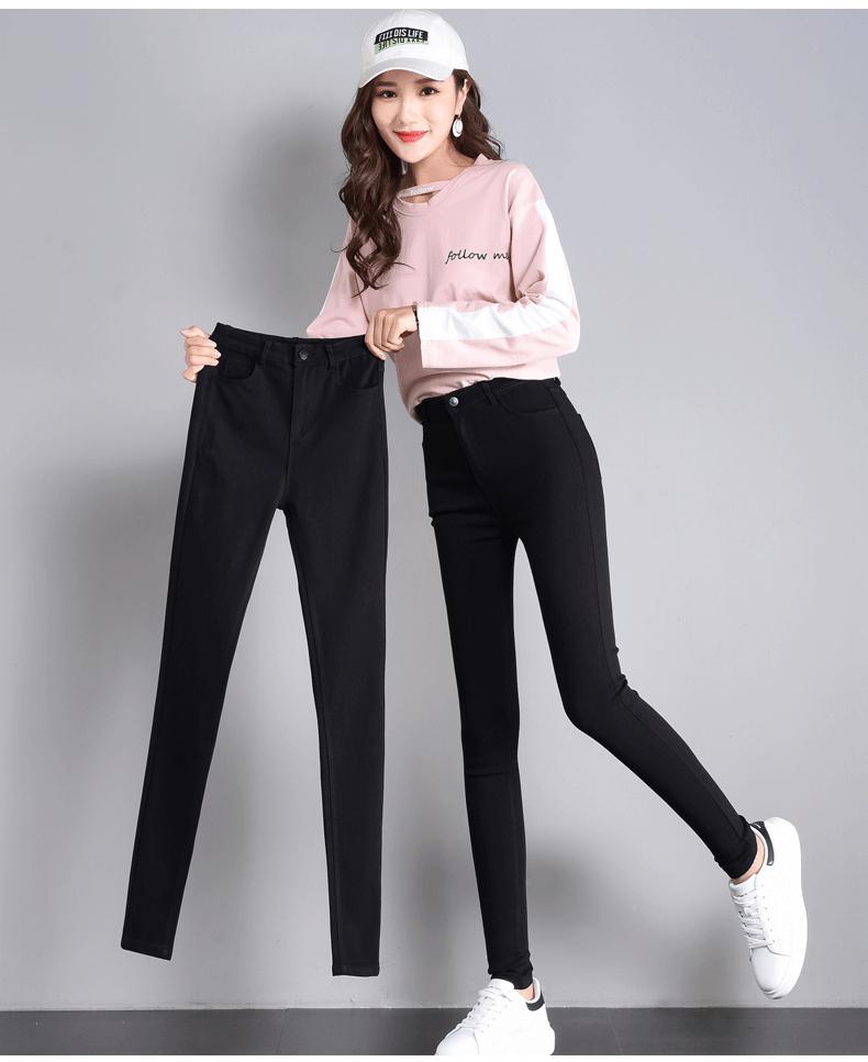 实拍魔术黑色弹力打底裤女外穿小脚2019新款高腰显瘦铅笔2