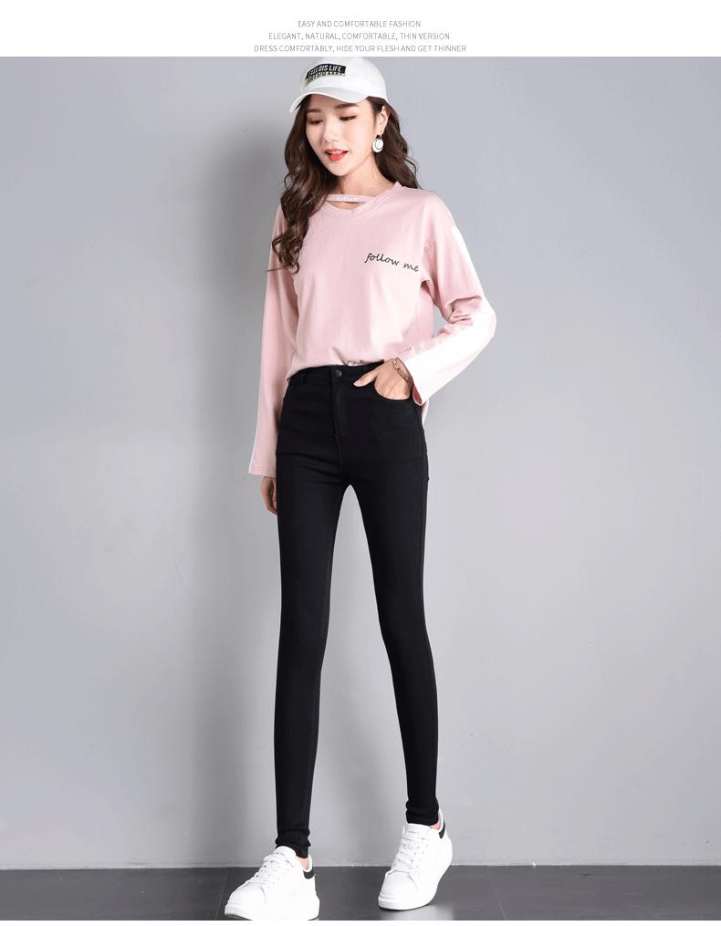 实拍魔术黑色弹力打底裤女外穿小脚2019新款高腰显瘦铅笔5