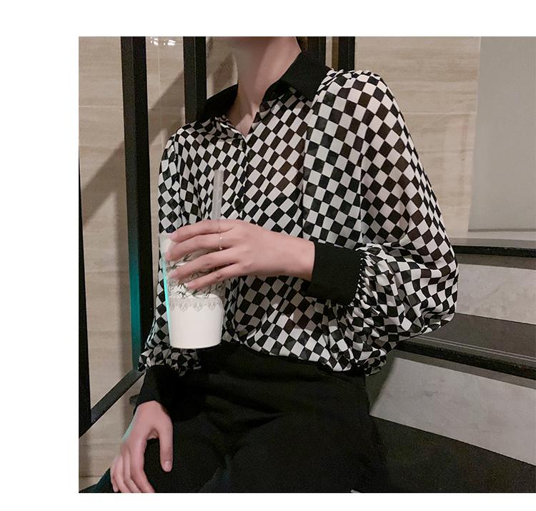 格子衬衫女长袖1