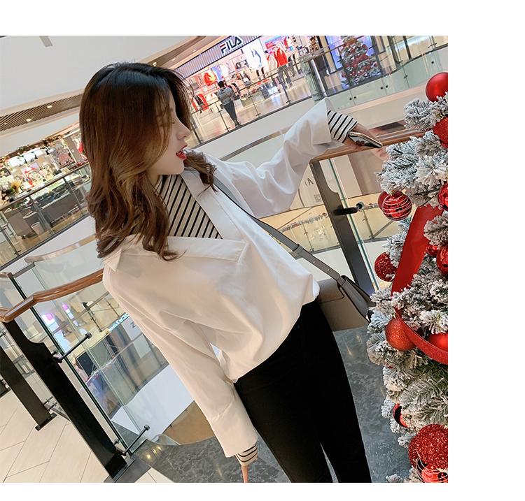 学院风女装宽松长袖衬衫1