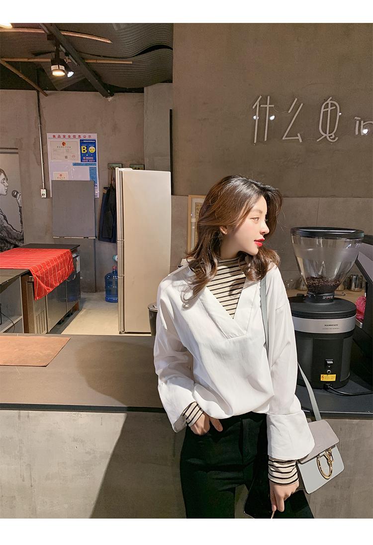 学院风女装宽松长袖衬衫2