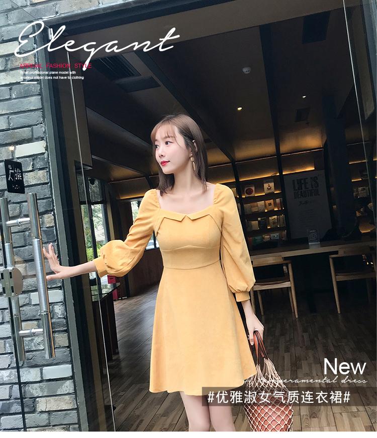 实拍2019春装新款小方领收腰A字纯色连衣裙1