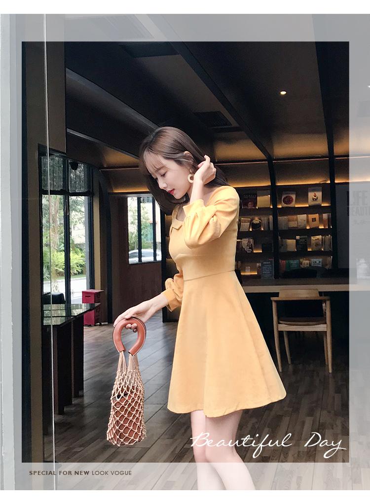 实拍2019春装新款小方领收腰A字纯色连衣裙2