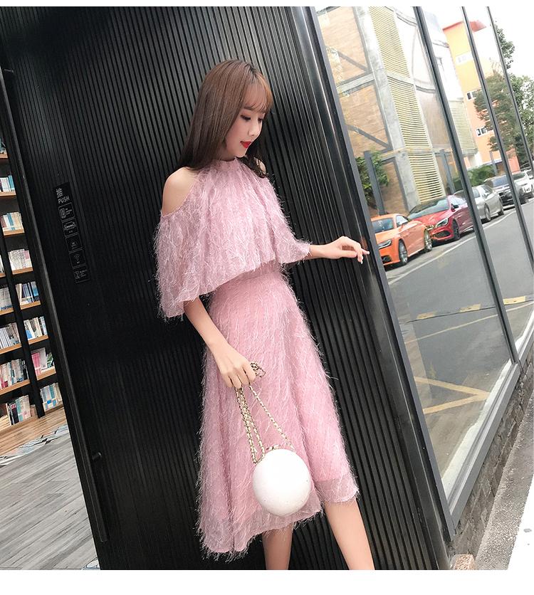 春装新款圆领蝙蝠袖收腰A字流苏连衣裙2