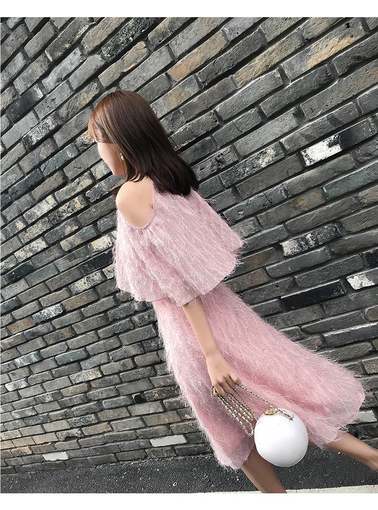 春装新款圆领蝙蝠袖收腰A字流苏连衣裙4