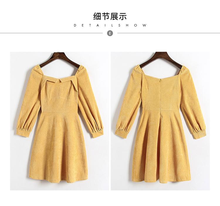 实拍2019春装新款小方领收腰A字纯色连衣裙5