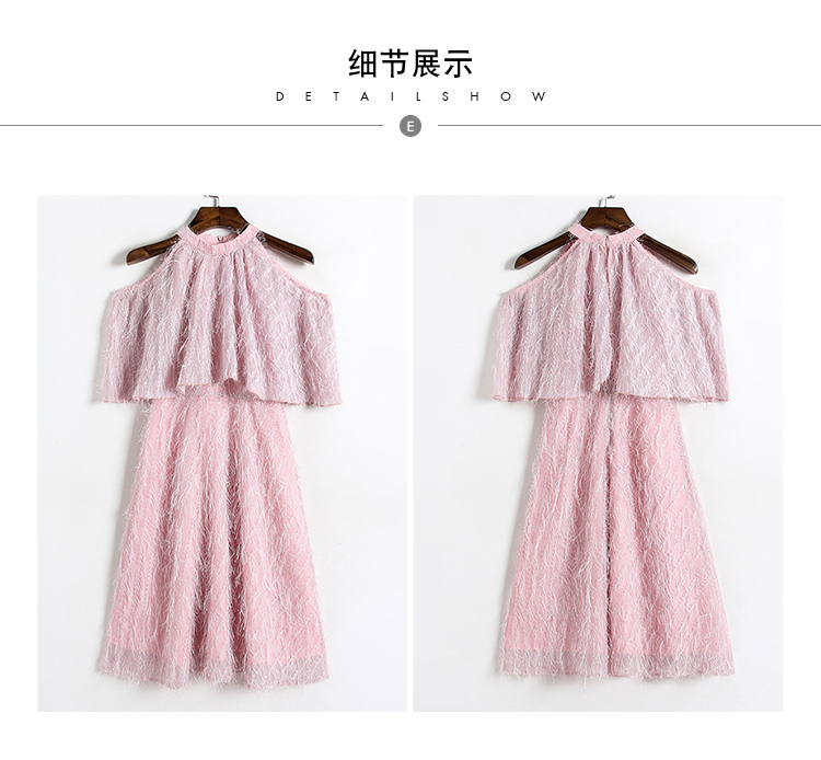 春装新款圆领蝙蝠袖收腰A字流苏连衣裙5