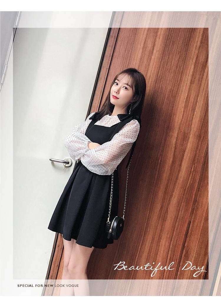 实拍2019春装新款圆领小衫吊带收腰蓬蓬A字裙套装5