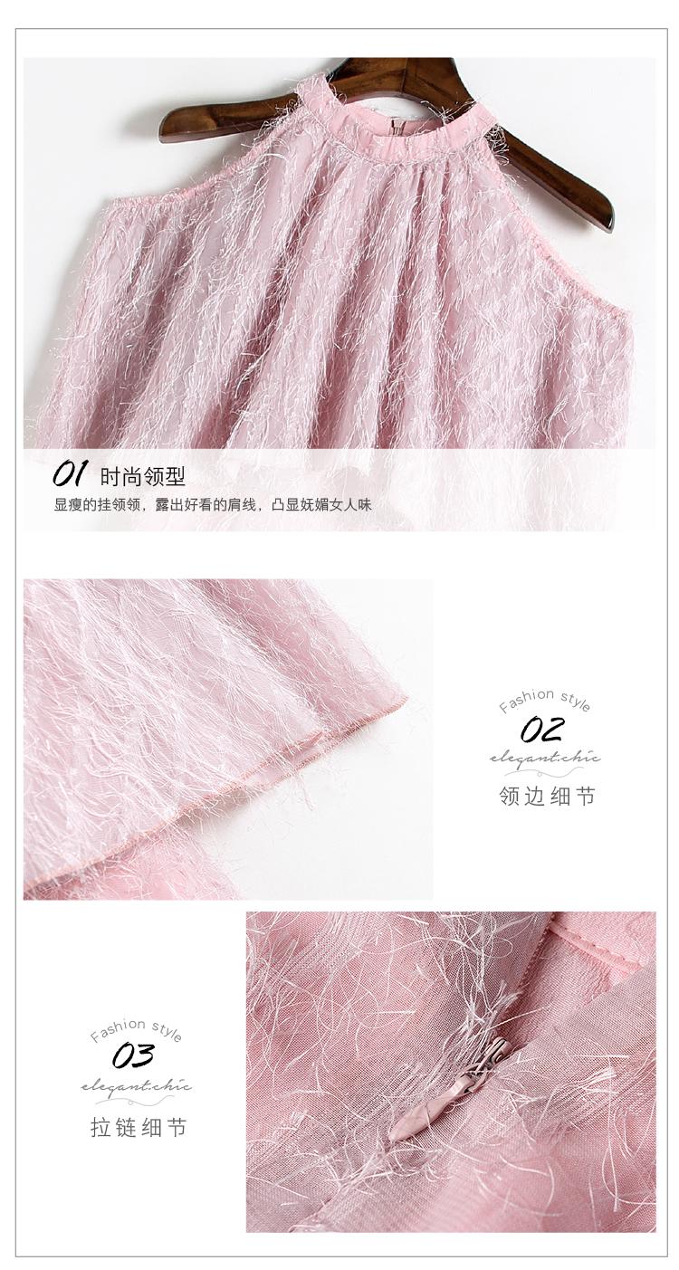 春装新款圆领蝙蝠袖收腰A字流苏连衣裙6