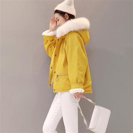 CRNA棉服外套女加厚短款冬装2018新款时尚加绒保暖连帽棉衣潮