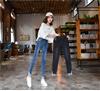 实拍2019胖妹大码女装裤高腰弹力显瘦小脚裤牛仔裤女九分裤
