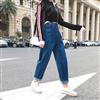 港风实拍视频2019春季新款百搭休闲九分裤高腰显瘦牛仔裤女