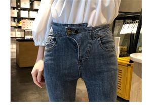 实拍牛仔裤女高腰2019新款修身显瘦小脚铅笔裤韩版chic长裤潮