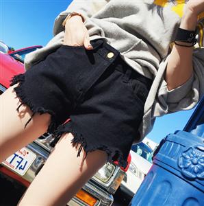 牛仔裤女夏季2018新款裤子韩百搭高腰热裤毛边黑色牛仔短裤夏
