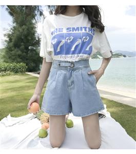实拍2019新款韩牛仔短裤女宽松显瘦学生高腰大阔腿chic热裤