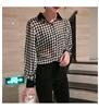 活动款 格子衬衫女长袖雪纺衬衣灯笼袖上衣2019春季新款韩版