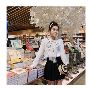白衬衫女春季系带蝴蝶结V领衬衣长袖雪纺上衣+高腰显瘦短裙