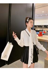 白色衬衣长袖女2019春季新款蝴蝶结雪纺衬衫+高腰显瘦短裙女