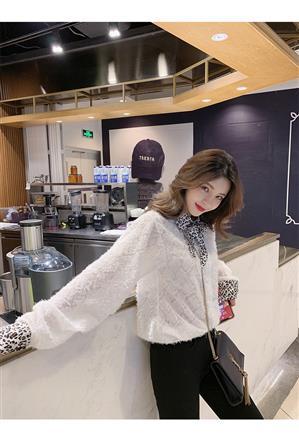 2019春季新款韩版气质豹纹领蝴蝶结系带毛毛流苏洋气衬衫
