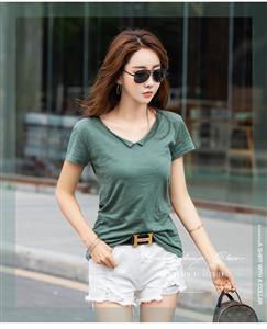 实拍现货新款领角卷边竹节纯棉短袖T恤女打底衫