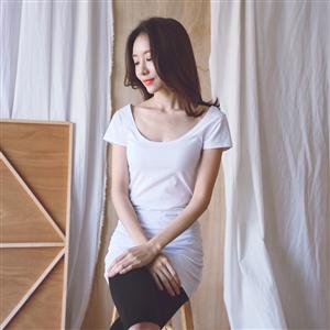 实拍现货2019春夏前后大圆领显瘦纯色中长款打底衫短袖T恤女