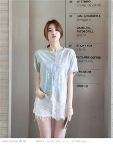 挂拍风实拍2019夏装蕾丝衫拼接不规则时尚短袖女士T恤