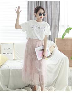 实拍2019韩国新款大码女装白色烫钻纯棉短袖T恤女宽松百搭