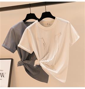 实拍韩国东大门新款烫钻字母带闪光面料宽松韩版短袖T恤