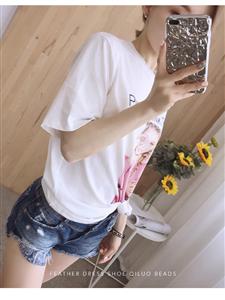 现货2019夏新款白色简约美女图案宽松圆领短袖女式T恤
