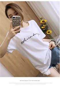实拍现货2019新款女装夏宽松简约刺绣字母百度白色短袖T恤女