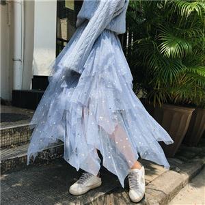 星星网纱半身裙女2019春装高腰蓬蓬裙蛋糕裙裙子半身纱裙