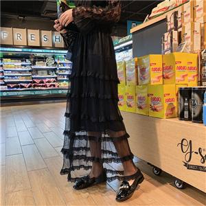 复古花边百褶网纱中长款层层蛋糕裙半身裙