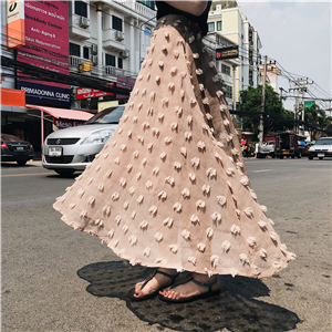 实拍 高腰超大摆仙女剪花工艺半身裙中长裙