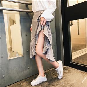 实拍春装新款格子一片式荷叶边系带中长款半身裙