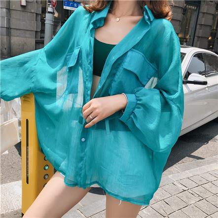 雪纺防晒衫开衫新款夏季中长款衬衫外搭防晒衣外套薄