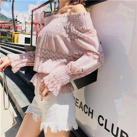实拍 早秋新款长袖蕾丝衫性感甜美一字领露肩上衣T恤