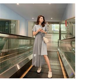 2019新款韩版超仙裙子短袖网纱拼接收腰修身显瘦连衣裙女夏