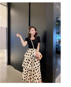 大波点拼接连衣裙女夏季2019新款韩版中长款蛋糕裙长裙内搭