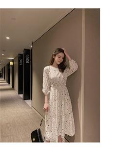2019新款韩版夏季收腰修身显瘦中袖a字裙波点雪纺连衣裙女中长裙