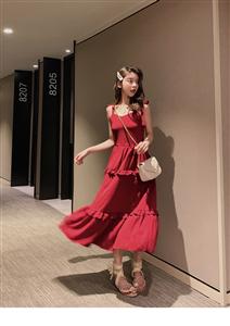 2019新款韩版夏季法式裙山本超仙裙中长款修身吊带连衣裙女