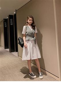 2019新款韩版夏季两件套初中学生韩版时尚短袖连衣裙套装女