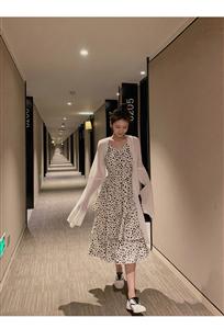 2019夏季新款时尚V领波点印花蛋糕裙中长款雪纺吊带连衣裙
