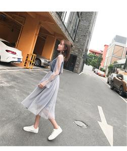 实拍2019春装新款荷叶边网纱收腰A字连衣裙